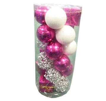 2 packs PINK, WHITE AND SILVER BAUBLES CHRISTMAS TREE ORNAMENT DECORATIONS
